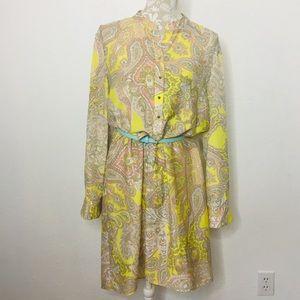 Antonio Melani Sz 12 Button Tunic Dress Paisley LS